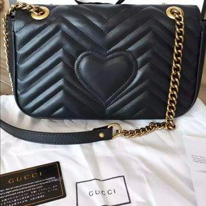 Gucci GG Small Marmont Black Matelasse Shldr Bag!!